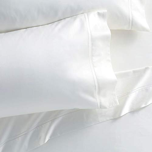 - Westbrooke Linens 500 Thread Count 100% Long-Staple Cotton Pleated Hem Pillowcase, Solid Sateen Weave, Wrinkle Free, Hotel Collection, Luxury Bedding Pillowcase (Standard, White)