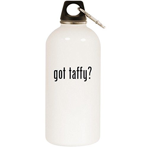 Molandra Products got Taffy? - White 20oz Stainless Steel Water Bottle with Carabiner