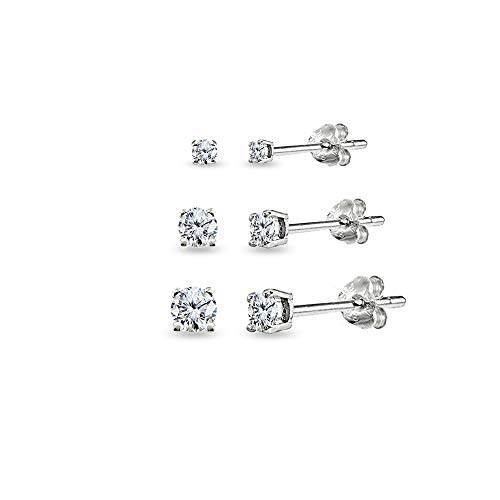 3 Pair Set Sterling Silver Cubic Zirconia Round Stud Earrings, 2mm 3mm 4mm (3 Piece Set Stud Earrings)
