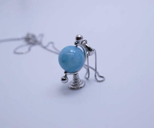 Genuine Blue Aquamarine Necklace full 925 Sterling Silver Blue Gemstone March Birthstone, Globe Tellurion Celestial Pendant