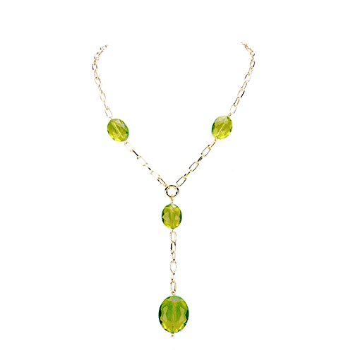 (Chunky Y-Shaped See Through Transparent Green Faceted Glass Bead & Gold-Tone Dangle Drop Necklace 18