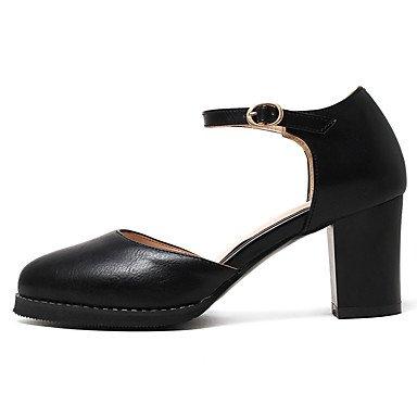LvYuan Mujer-Tacón Robusto-Confort-Sandalias-Oficina y Trabajo Vestido Informal-Semicuero-Negro Amarillo Blanco Black