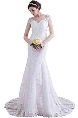 Women's V-Neck Off The Shoulder Lace Tulle Mermaid Wedding Dresses Bridal Gown