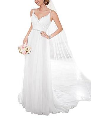 OYISHA Women's Chiffon Spaghetti Straps V-Neck Wedding Dress Long Beaded A-Line Bridal Gowns WD176