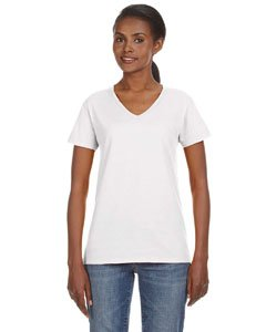 Anvil Ladies' Ringspun V-Neck T-Shirt, White, Large
