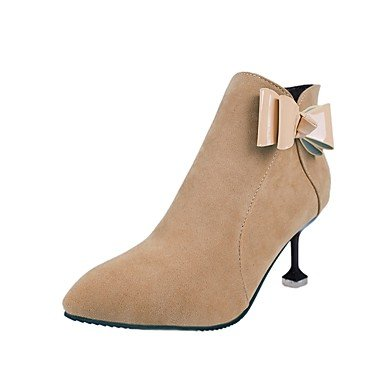 RTRY Women's Shoes Suede Fall Winter Fashion Boots Boots Stiletto Heel Pointed Toe Bowknot For Casual Party & Evening Almond Black US5.5 / EU36 / UK3.5 / CN35 uQI7zh