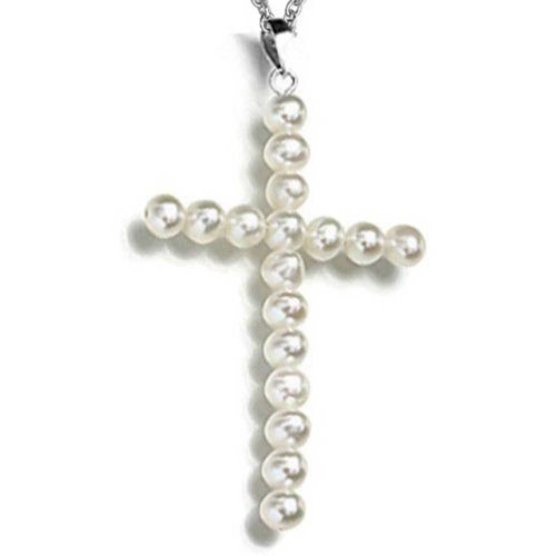 Pearl Silver Plated Cross - Freshwater Cultured Pearl Cross Pendant Silver Plated Necklace 18 Inches