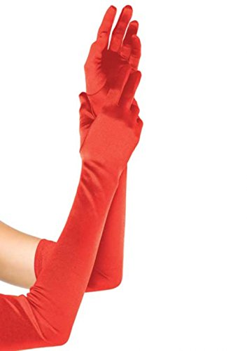 Extra Long Satin Opera Length Gloves (Red) - Red Extra Long Satin Gloves
