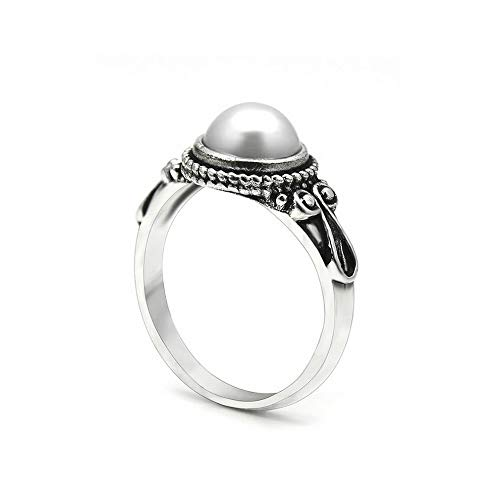 Wausa White Pearl Women Wedding Engagement Ring Vintage 925 Silver Jewelry Size 6-10 | Model RNG - 10271 | ()