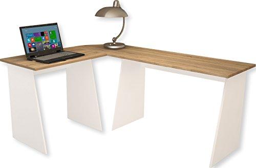 VCM 911536 Eck-Schreibtisch Masola Schreibtisch, Computertisch, Winkeltisch, 74 x 135 x 105 cm, weiß / sonoma-eiche