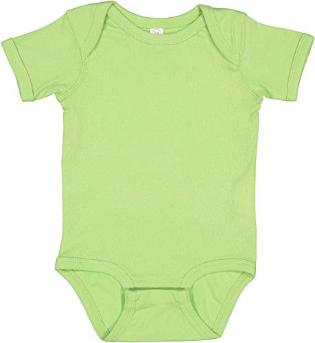 RABBIT SKINS, Baby Soft Short-Sleeve Bodysuit, Key Lime, 6 Months