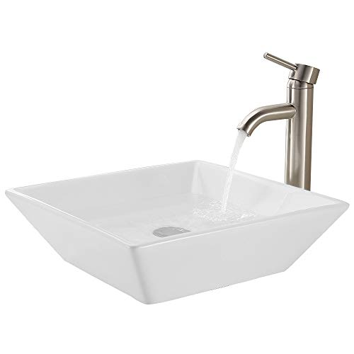 KES Bathroom Vessel Sink and Faucet Combo Bathroom Rectangular White Ceramic Porcelain Counter Top Vanity Bowl Sink Brushed Nickel Faucet, BVS111-C2