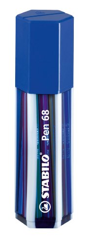 STABILO Pen 68 Fibre-tip Pen Pack of 20 Assorted Colours in a Dark Blue re-usable case ()