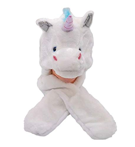 Mozlly Cute Stuffed Unicorn Plush Animal Winter Hat Super Soft Warm Cozy Beanie Toys Critter for Kids Boys Girls Earflap Novelty Costume Fleece Lining Cap Headwear Accessories Party Favors 33 Inch