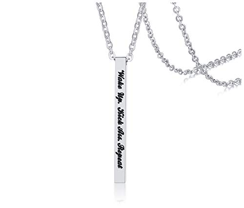 Inspirational Bar Pendant Necklace Jewelry Engraved 'Wake Up. Kick Ass. Repeat' Birthday Valentine's Day and Mother's Day Jewelry Gifts Girls]()