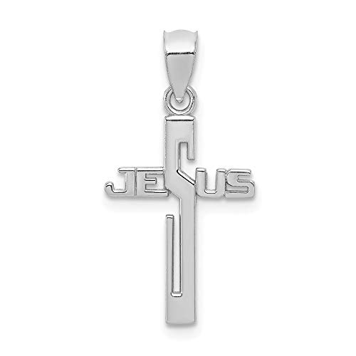 14k White Gold Jesus Cross Religious Pendant Charm Necklace Fancy Fine Jewelry Gifts For Women For -