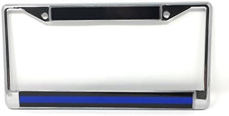 Police Thin Blue Line Chrome License Plate Frame