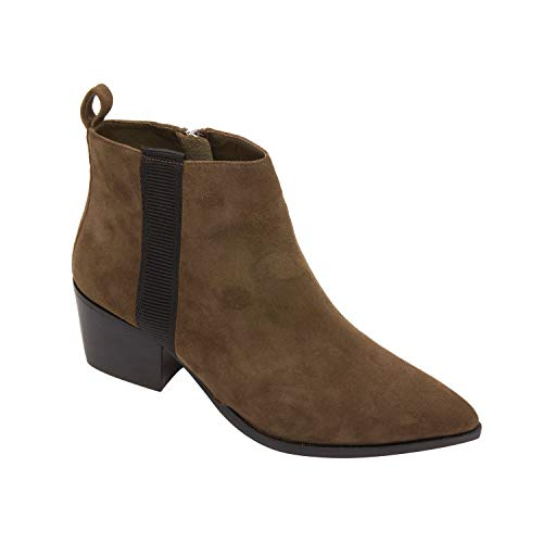 Linea Paolo Sevilla | Western Inspired Leather Bootie with Low Stack Heel Dark Olive Suede 10M ()