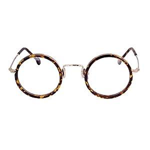 Agstum Handmade Retro Round Prescription Optical Eyeglasses Frame Rx 43mm (Tortoise shell)