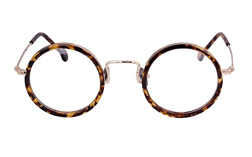 Agstum Handmade Retro Round Prescription Optical Eyeglasses Frame Rx 43mm (Tortoise - Shell Eyeglass Frames Round Tortoise
