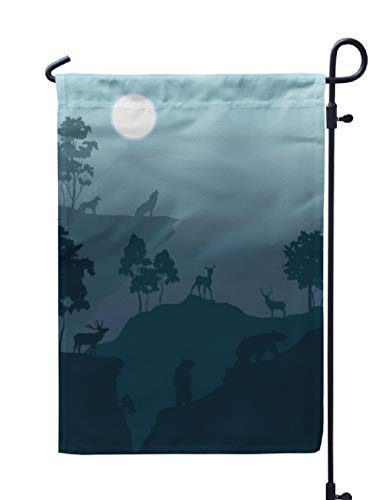 Soopat Elk Deer Seasonal Flag, Night Mountains for est and Animals Howling Full Moon Weatherproof Double Stitched Outdoor Decorative Flags for Garden Yard 12''L x 18''W Welcome Garden Flag -