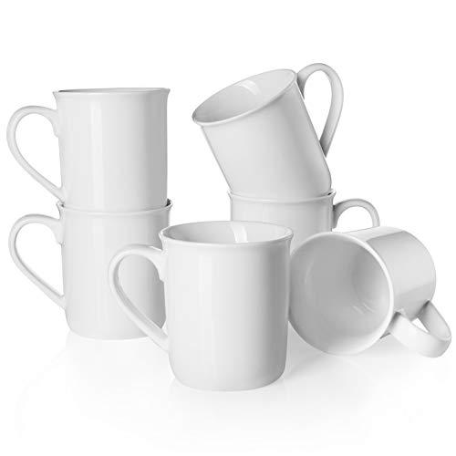 Teocera Porcelain Mugs, Coffee mug Set - 12 oz for Latte, Coffee, Cocoa, Tea - White - Set of 6 - Giants Coffee Set Mug