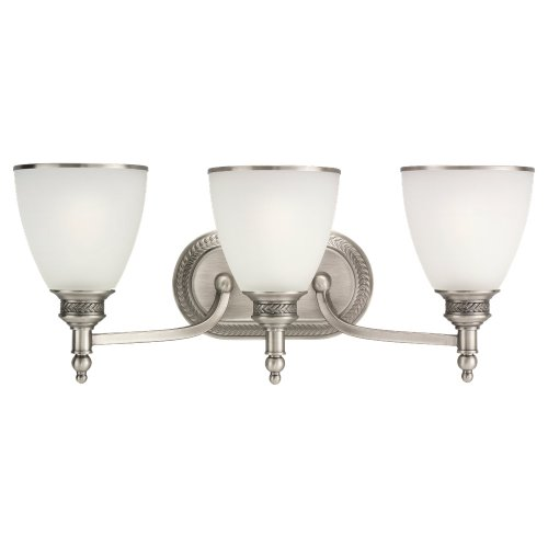 Sea Gull Lighting 44351-965 Wall Light, Etched Ripple Glass Shades and Antique Brushed Nickel, 3-Light Leaf 3 Light Vanity