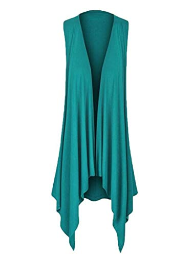GOVOW Womens Casual Solid Sleeveless Draped Irregular Hem Soft Open Cardigan Top Blouse