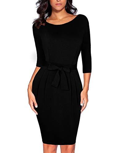 CHUNNA Women's Elegant 2/3 Sleeve Wear to Work Casual Pencil Dress with Belt