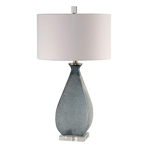 Etched Glass Lamp Shade - Uttermost Atlantica Acid Etched Ocean Blue Glass Table Lamp