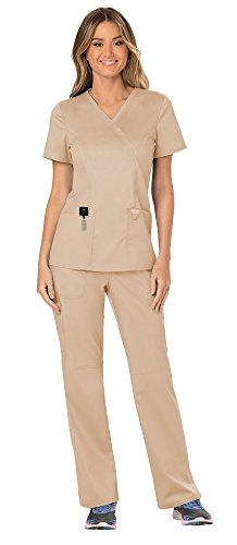 Cherokee Workwear Revolution Women's Medical Uniforms Scrubs Set Bundle - WW610 Mock Wrap Scrub Top & WW110 Pull On Scrub Pants & MS Badge Reel (Khaki - ()