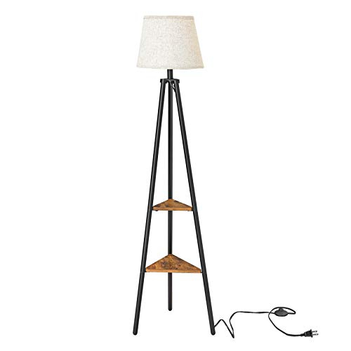 VASAGLE Floor Lamp with Shelves, Standing Reading Lamp with LED Bulb and Lamp Shade, for Living Room, Bedroom, Metal Legs, Rustic Brown ULFL15BX (Lamp Shelf With)