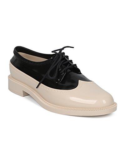 Melissa Women Lace Up Spectator - Jelly Loafer - Comoda E Comoda Scarpa Casual Da Smoking - Classica Brogue Di Gelatina Nera / Beige
