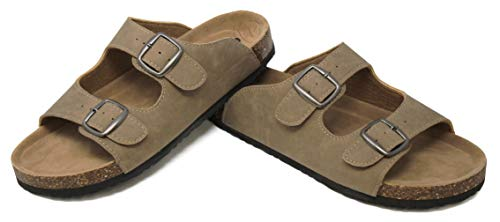 MVE Shoes Women's Slip On Open Toe Sandal-Vegan Leather Adjustable Double Strap - Cork Flat Summer Mules, Taupe nub Size 10