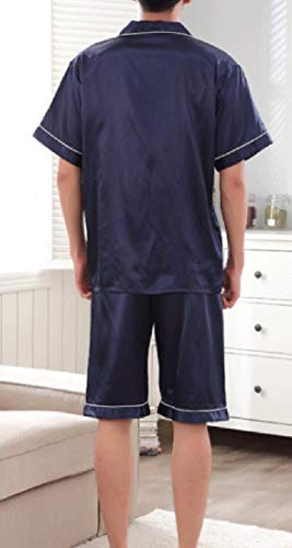 Macondoo Men Lounge Silk Thin Satin 2 Piece Sleepwear Pajama Set