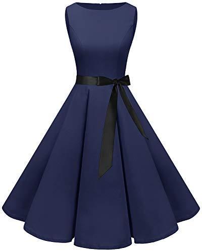 Bbonlinedress Women's 1950s Audrey Summer Vintage Rockabilly Swing Dress Navy L