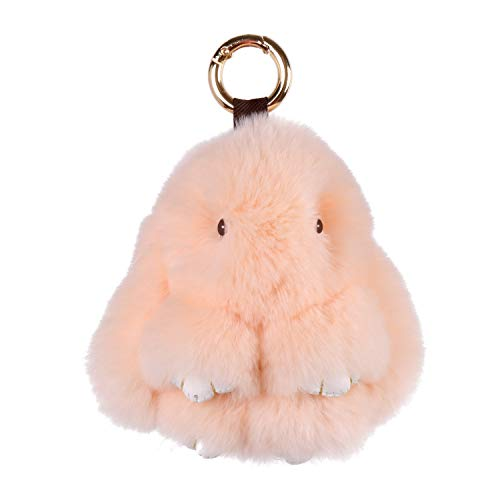 Himawari Rabbit Fur Bunny Keychain Handmade Soft Cute Rex Rabbit Fur Keychain Car Handbag Backpack Keyring Bag Charms Pendant (L, Apricot)
