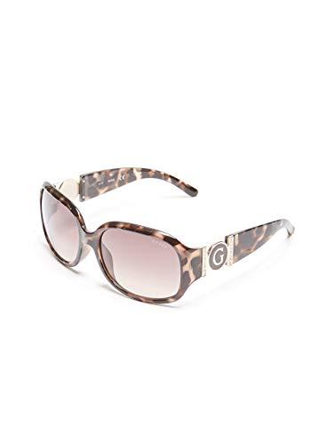 Rhinestone Logo Sunglasses - GUESS Factory Women's Cutout Logo Plastic Sunglasses