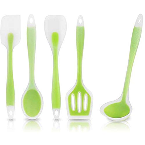 FrenchWare Cooking Spatula Spoon – Silicone Nonstick Heat Resistant Kitchen Utensil Set | Complete Set of 5,Green Color BPA Free & FDA Approved Price & Reviews