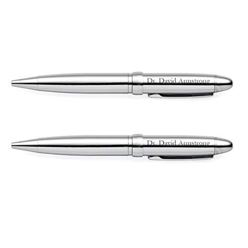 Set of 2 Engraved Executive Pens, Custom Personalized Ballpoint Pen Gift Set - Lustrous Chrome