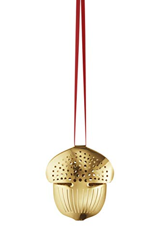 (Georg Jensen Holiday Ornament Acorn Christmas Decoration Set, Gold Plated Brass, One Size)