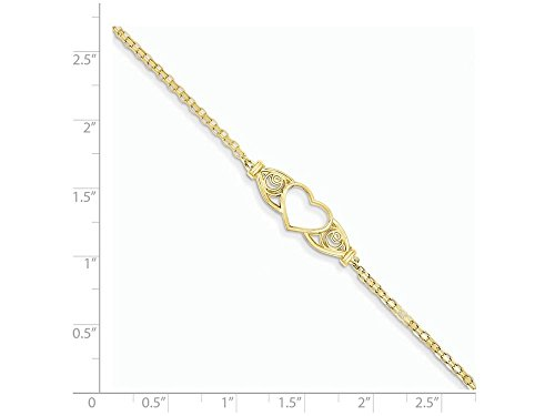 10 Inch 14k Yellow Gold Polished Antiqued Heart Anklet