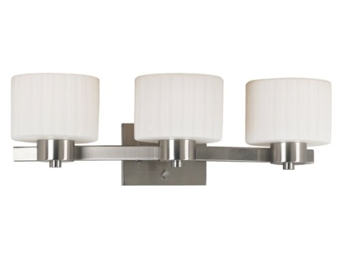 - Kenroy Home 80413BS Legacy Three-Light Vanity Light with 6-Inch Fluted Glass Shades