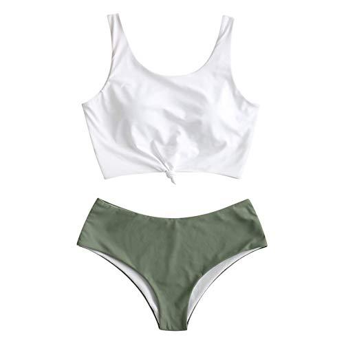 ZAFUL Zweiteiliger verknotet Tankini Beachwear Set, einfarbiger gepolsterter Badeanzug mit Schulterträger & Badehose mit Tropisches Blattmuster für Damen