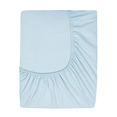 (Prime Deep Pocket Fitted Sheet - Brushed Velvety Microfiber - Breathable, Extra Soft and Comfortable - Winkle, Fade, Stain Resistant (Sky,)
