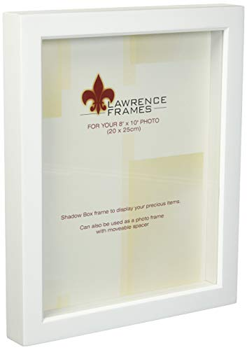 Lawrence Frames 795280 White Wood Treasure Box Shadow Box Picture Frame, 8 by 10-Inch