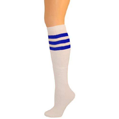 AJs Classic Triple Stripes Retro Knee High Tube Socks - White, Royal Blue, Sock size 11-13, Shoe Size 5 and -