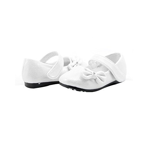 DREAM PAIRS Angel-5 Adorable Mary Jane Side Bow Buckle Strap Ballerina Flat (Toddler/Little Girl) New White