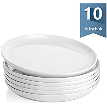 Sweese 154.001 Porcelain Round Dinner Plates - 10 Inch - Set of 6, White