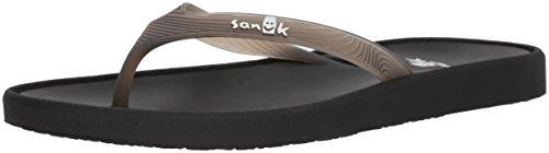 Sanuk Women's Sidewalker Flip-Flop, Black, 8 M US ()